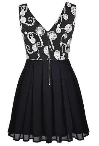 Sleeveless Black Contrast White Embroidered Fit-And-Flare Dress