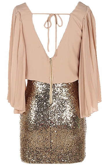 Tan Chiffon Kimono Sleeve Gold Sequin Skirt Cocktail Dress