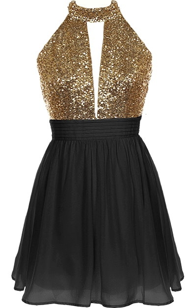 Black Gold Sequin Bodice Halter Neck Short Chiffon Party Dress