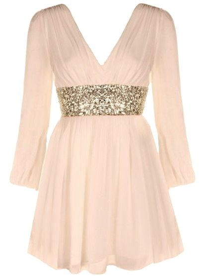 Double V-Neck Long Sleeve Peach Chiffon Gold Sequin Waist Dress