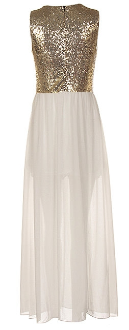 Floor-Length Gold White Sequin Chiffon Maxi Dress