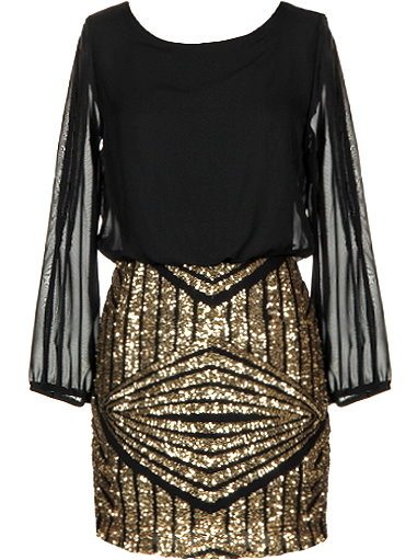 Long Sleeve Black Gold Sequin NYE New Year's Eve Party Dress