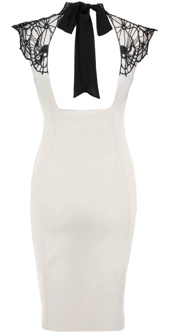 White Black Lattice Neck Sleeveless Fitted Sheath Midi Dress