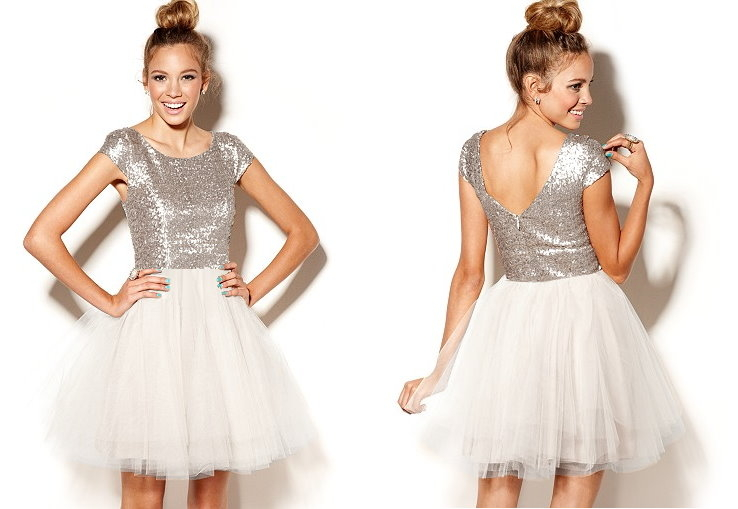 Silver White Sequin Mesh Tutu Fit And Flare Homecoming Dress