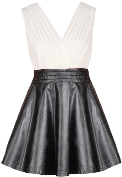 White Chiffon Double V-Neck Black Leather Skater Dress