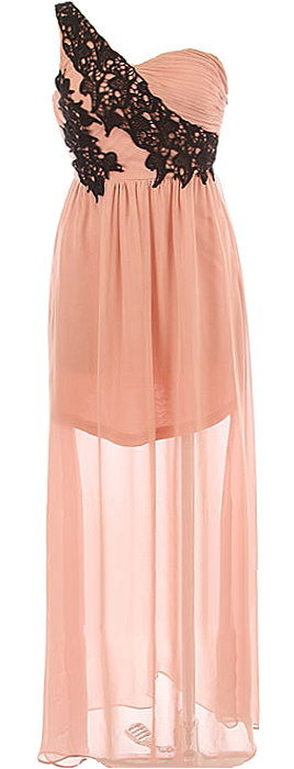 Pink One-Shoulder Floral Embroidered Sweetheart Chiffon Maxi Dress