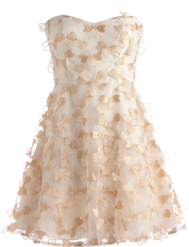 Strapless Ivory Sweetheart Champagne Floral Applique Wedding Guest Dress