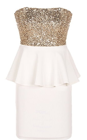 Strapless Short Gold Sequin White Peplum Waist Party Dress