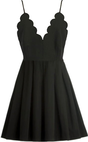 Black Scalloped V-Neck Spaghetti Strap Skater Dress