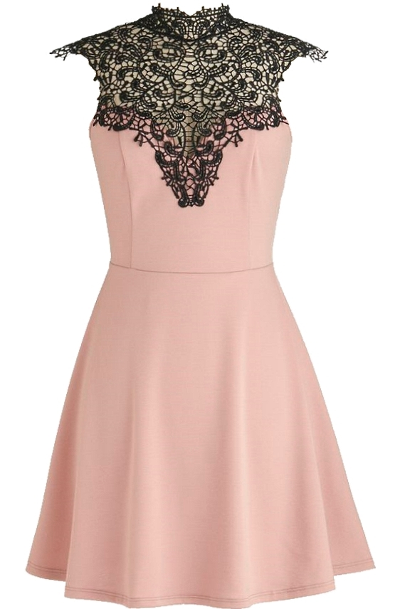 Pink Black Lace Sweetheart Skater Dress