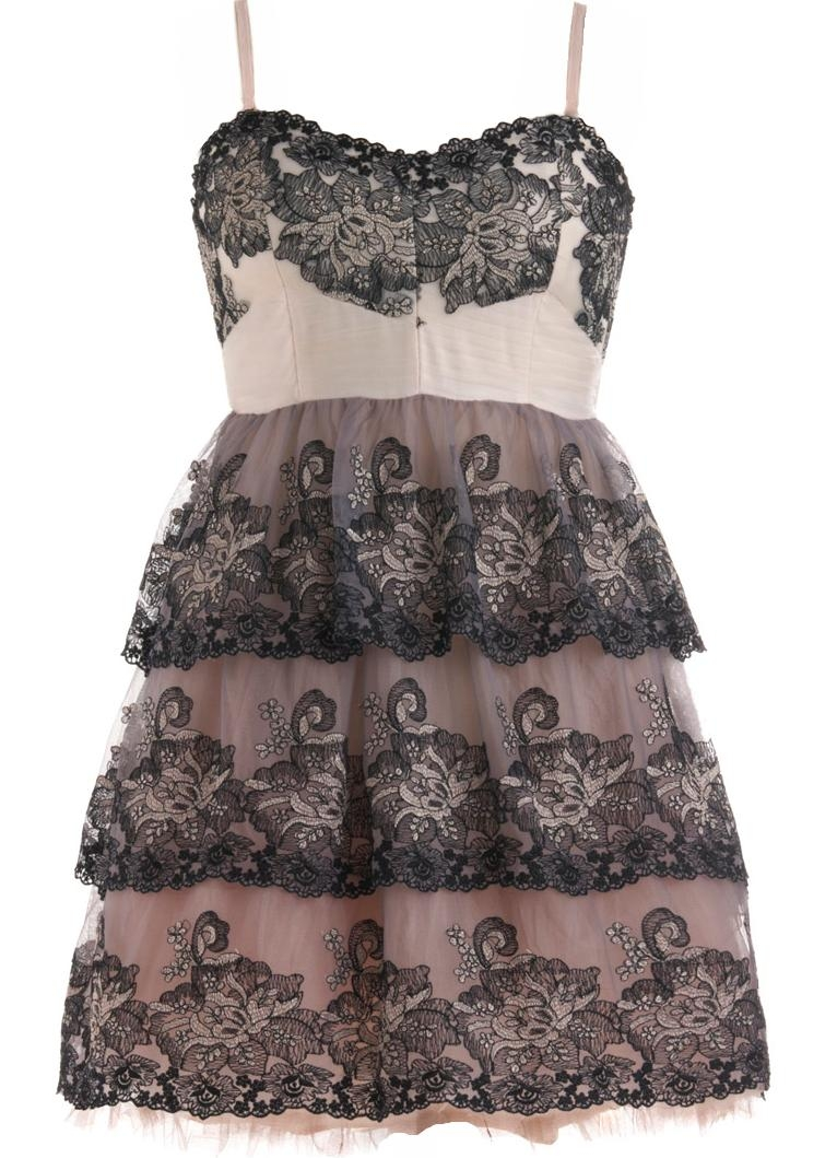 Pink Mauve Paisley Embroidered Tiered Mesh Layered Bridesmaid Dress