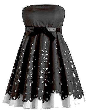 Strapless Black White Laser Cut Bridesmaid Dress