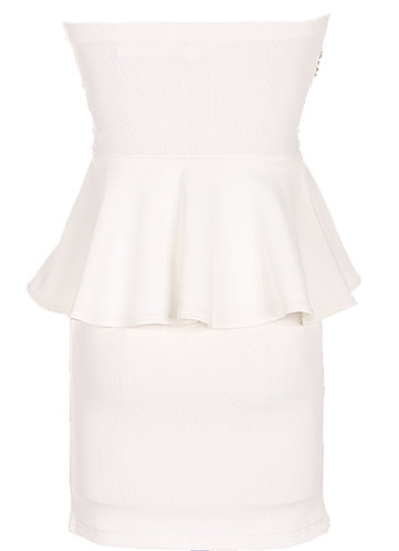 Strapless Gold Sequin White Peplum Waist Party Dress