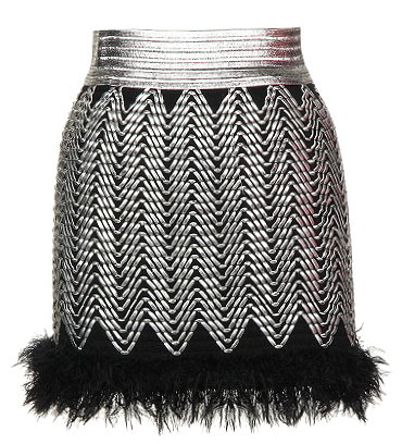 Metallic Silver Black Textured Fur-Trimmed Party Mini Skirt
