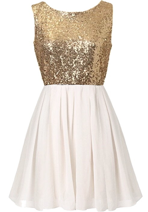 Sleeveless Gold Sequin White Chiffon Short Skater Party Dress