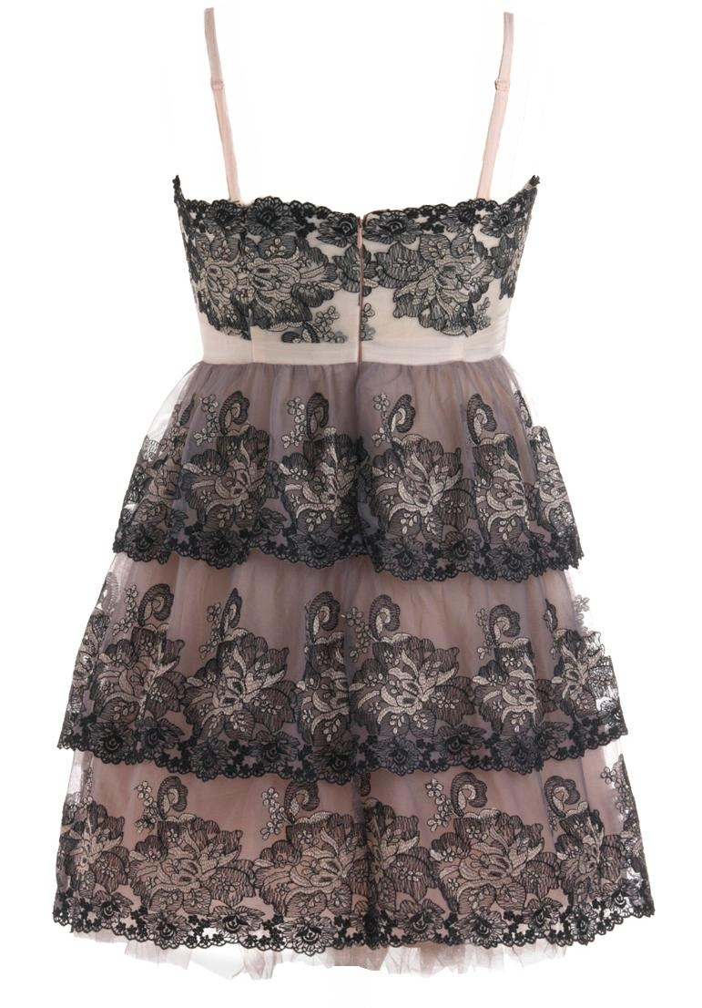 Pink Purple Sweetheart Neck Lace Embroidered Layered Dress With Spaghetti Straps