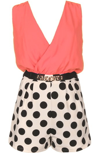Coral Double V-Neck Polka Dot Romper Playsuit