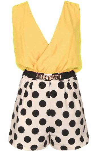 Yellow Double V-Neck Belted Retro Polka Dot Romper