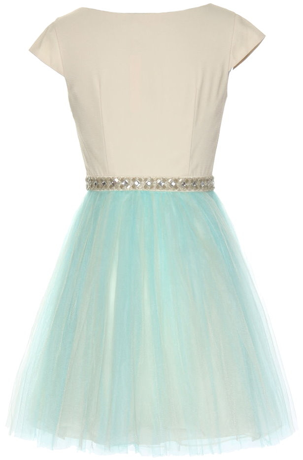 Ivory Blue Cap Sleeve Jeweled Waist Tulle Homecoming Dress