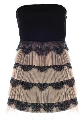 Strapless Black Beige Scalloped Lace Tiered Mini Cocktail Party Dress