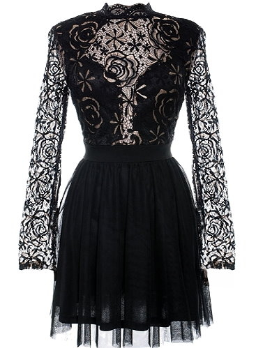 Black Lace Long Sleeve High-Neck Fit-And-Flare Crochet Party Dress