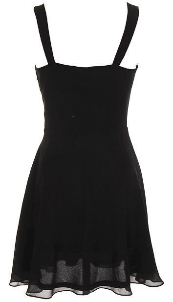 Glitter Bodice Sweetheart Bust Black Chiffon Skater Dress