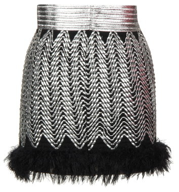 Silver Fur-Trimmed Short Micro Mini Skirt