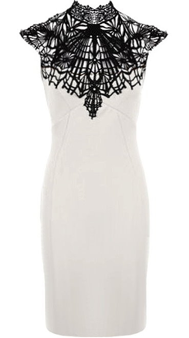 White Black Contrast Crochet Neck Fitted Mid-Length Bodycon Dress