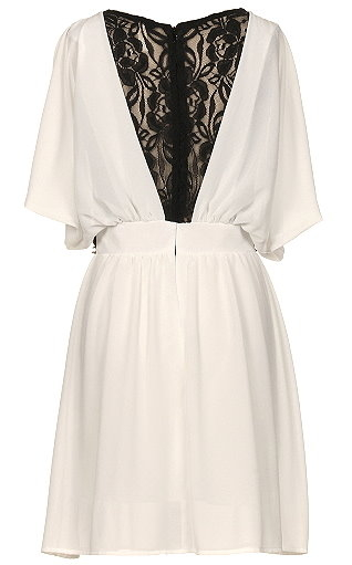 White Angel Sleeve Scoop Neck Silk Chiffon Embellished Waist Skater Dress