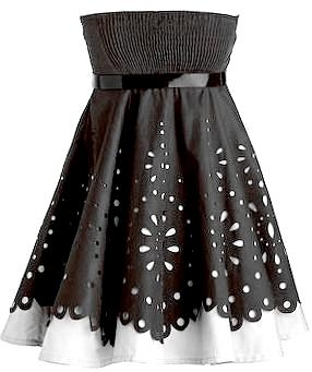 Strapless Black Laser Cut White Contrast Homecoming Dress
