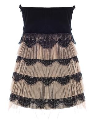 Strapless Black Lace Micro Mini Bachelorette Party Dress