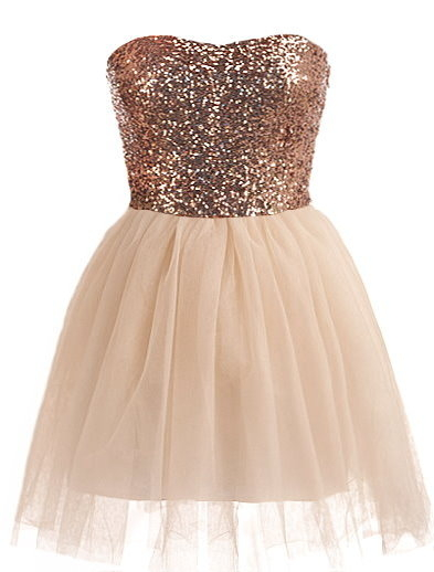 Strapless Sequin Bodice Sweetheart Neck Bronze Peach Mesh Prom Dress