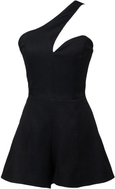 One-Shoulder Sweetheart Neckline Black Fitted Romper