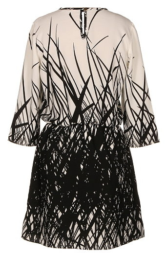 Ivory Black Branch Print Elbow Sleeve Shift Dress