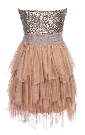 Sparkly Sequin Bodice Silver Gold Peach Prom Dress
