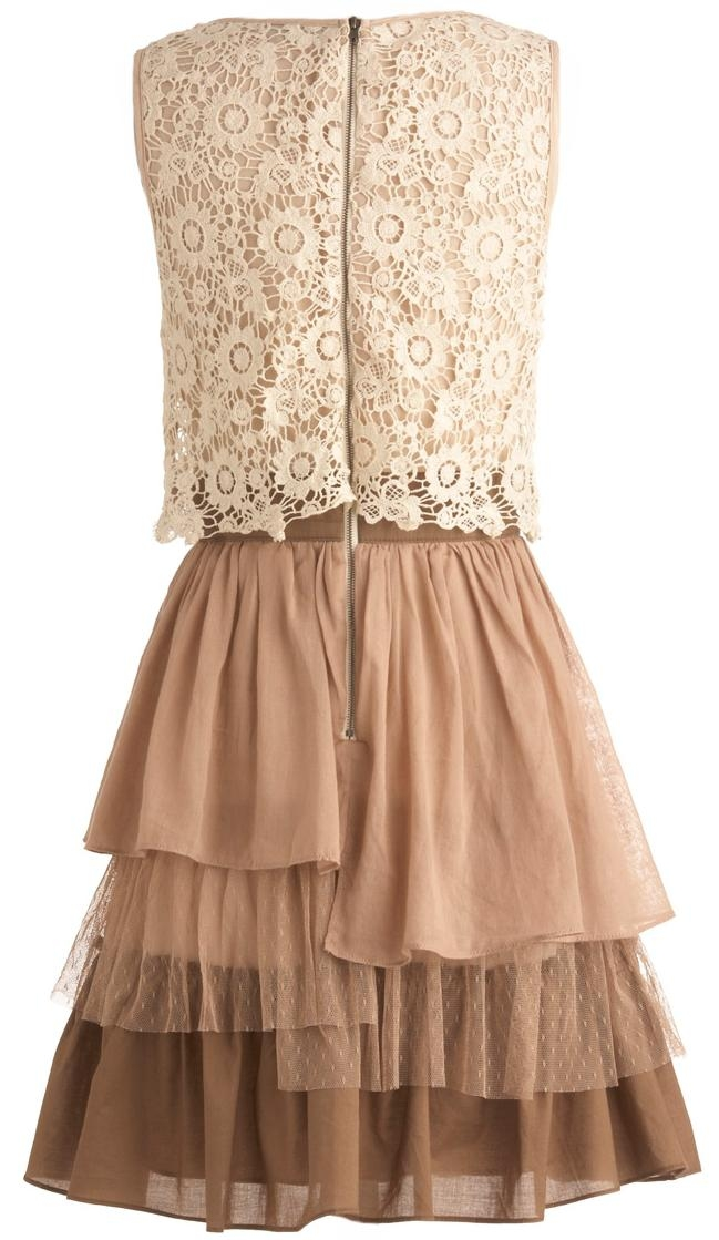 Cream Crochet Bodice Chocolate Tiered Cotton Bridesmaid Dress