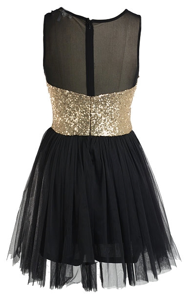 Black Mesh Gold Sequin Bodice Fit-And-Flare Mesh Tutu Prom Dress