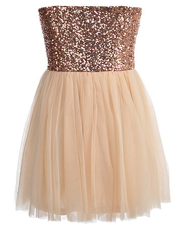 Strapless Bronze Sequin Bodice Peach Tulle Skirt Homecoming Dress