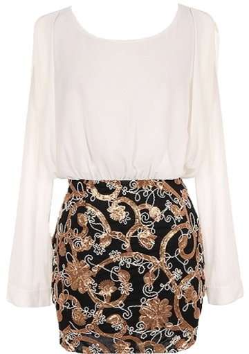 White Chiffon Long-Sleeve Metallic Sequin Embroidered Skirt Party Dress