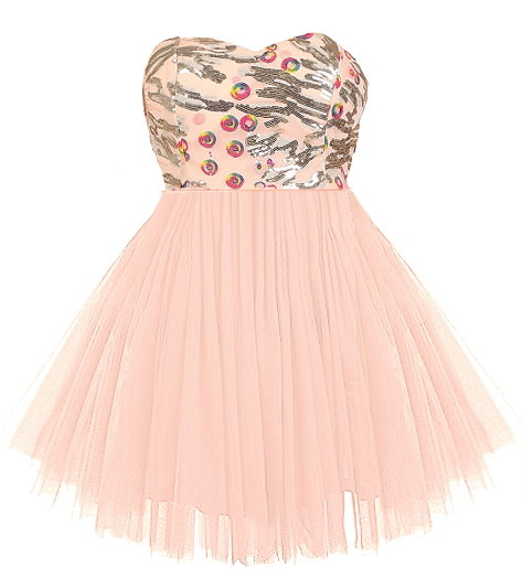 Strapless Pink Sequin Bodice Sweetheart Neckline Mesh Ballerina Skirt Prom Dress