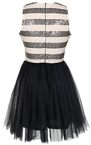White Black Glitter Striped Tulle Hem Prom Dress