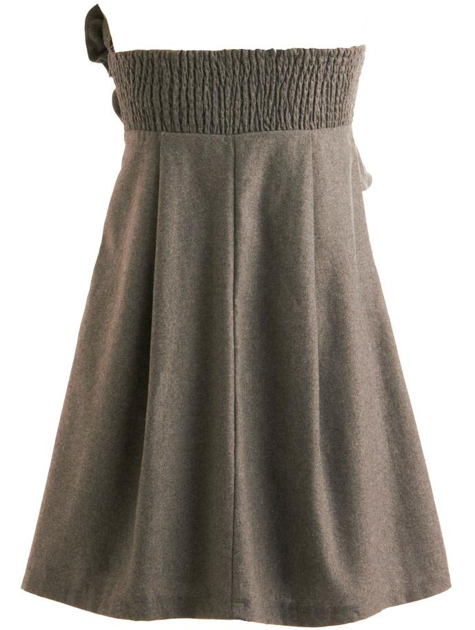Strapless Gray Pleated Wool Short Wedding Guest Dress