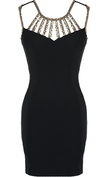 Black Gold Strappy Sequin Neck Short Bodycon Cocktail Dress