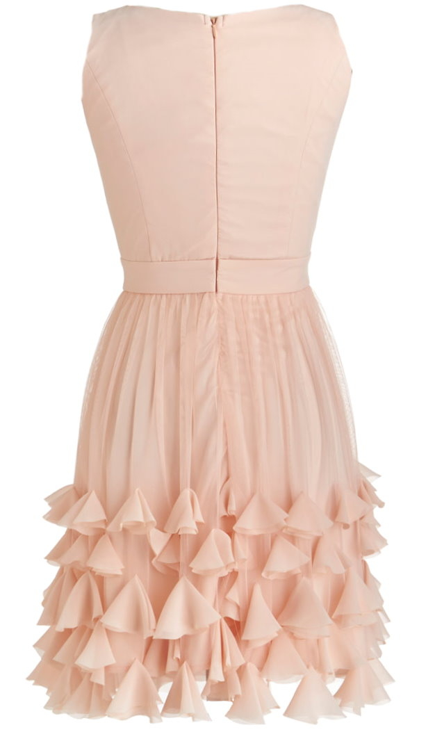 Pale Pink V-Neck 3-D Petal Hem A-Line Wedding Guest Dress