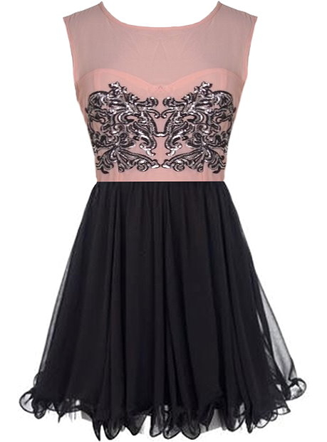 Pink Silver Sequin Chest Black Chiffon Skirt Dress