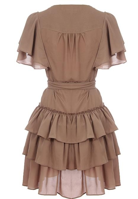 Brown Ruffled Chiffon V-Neck Wrap-Style Dress