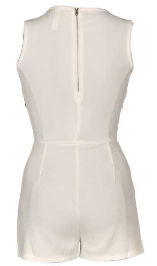 Short White Cut Out Neck Contrast Black Playsuit