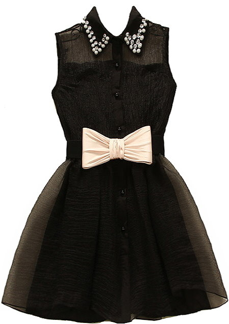 Black Embellished Peter Pan Collar Bow Waist Fit And Flare Dress