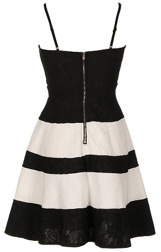 Black White Contrast Fit And Flare Lace Dress With Spaghetti Straps