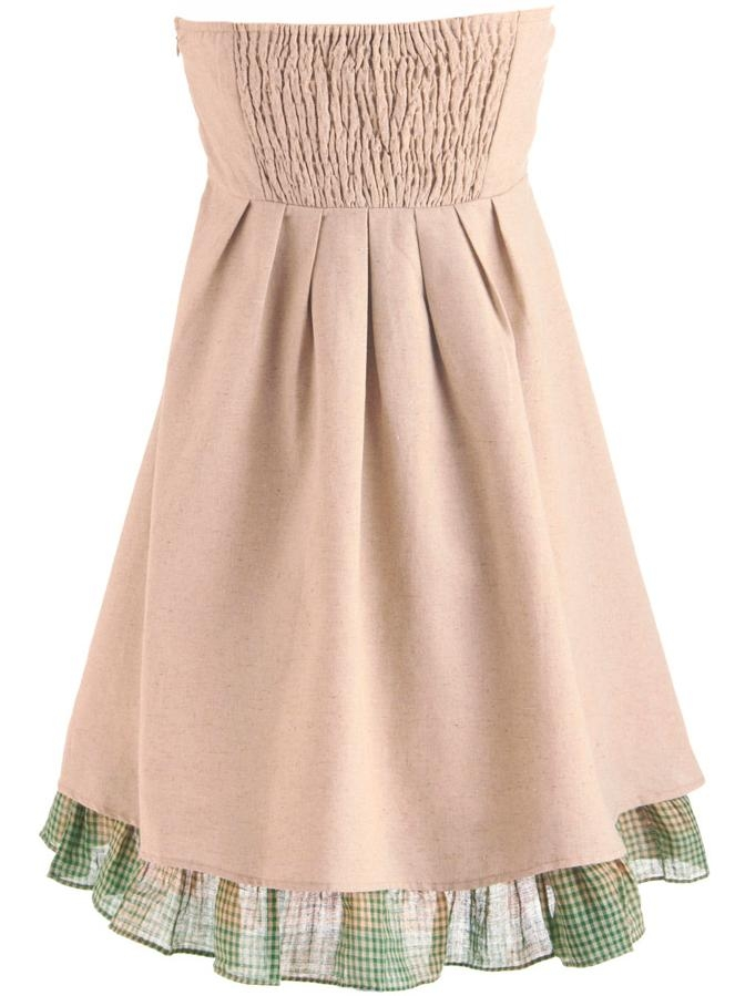 Strapless Tan Green Floral Embellished Formal Mini Dress